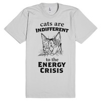 Cats are Indifferent to the Energy Crisis-Unisex Silver T-Shirt