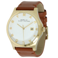 Marc by Marc Jacobs MBM1213 Women's Henry Brown Leather Strap White Dial Gold Tone Watch