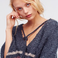 Free People Juno Striped Boucle Poncho