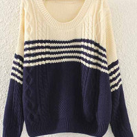 Color Block Long Sleeve Stripe Pattern Knit Sweater