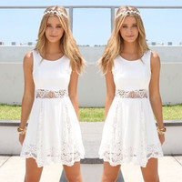 White Cutout Lace Sleeveless Dress