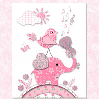 Nursery wall art music elephant decoration baby girl room decor toddler artwork kids poster bird print pink grey playing violin shower gift