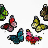 Embroidered Patch - Butterfly Patches - Butterflies Patch Iron On - Colorful Patch - Insect Applique Butterfly Clothes Patch Denim Accessory