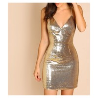 Gold Crisscross Back Bodycon Sequin Party Dress