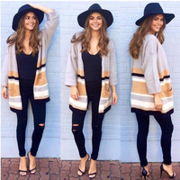 Apricot Striped Print Long Sleeve Long Cardigan