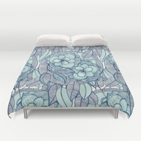 Teal Magnolias - a hand drawn pattern Duvet Cover by Micklyn