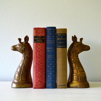 Vintage Brass Bookends, Giraffe, Regency Gold Tone Zoo Animal Book Ends, Statue Figurines, Metal Library Decor
