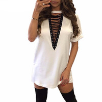 Summer Mini Tie-Up Dress TShirt Style - 11 colors