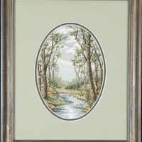 The Brook A Hand Stitched Petit Point Picture Framed in a Dark Stained Pine Frame - Can/US Free Shipping