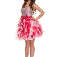 Short Ruffle Homecoming Dress with Bow in Red