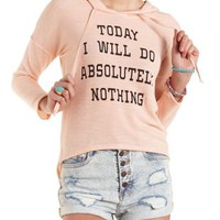 Nothing Graphic High-Low Hoodie by Charlotte Russe