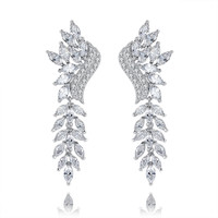 Marquise and Round Cubic Zirconia Chandelier Earrings