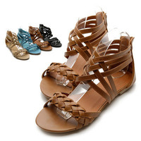 NEW Womens Shoes Gladiator Flats Cross Braided Sandals Multi Colored