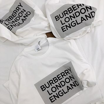 """""""Burberry""""  Unisex Casual All-match Letter Square Pattern Print Couple Short Sleeve T-shirt Top Tee"""