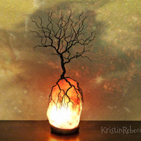 Twisted Wire Tree of Life Sculpture Himalayan Salt Lamp Tree Lamp Lighted Tree Sculpture