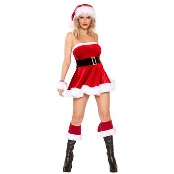 Sexy Holidays Santa Baby Velvet Faux Fur Strapless Belted Mini Dress