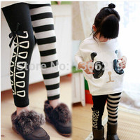Hot Girls Children Clothing Set Fashion Girl's Sequins Panda T shirt Striped AB Leggings 2pcs Sets Cotton Baby Kids Clothes Suit