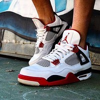 "Nike AIR Jordan 4 AJ4 ""white black red"" fashion men's and women's casual sports shoes high-top basketball shoes"