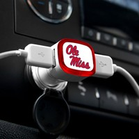 NCAA Ole Miss Rebels Car Charger, White