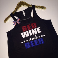 Red Wine and Beer - Ruffles with Love - Racerback Tank - Womens Fitness - Workout Clothing - Workout Shirts with Sayings