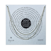 100 good wishes tiny faceted necklace, sterling silver, 41 inch