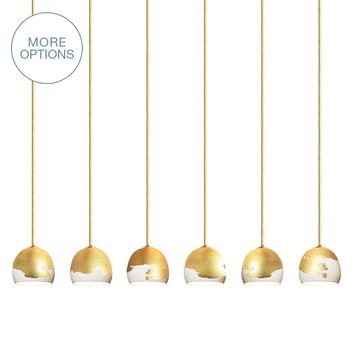 Mini Ombre Porcelain Round Globe Clay 2-6 Chandelier