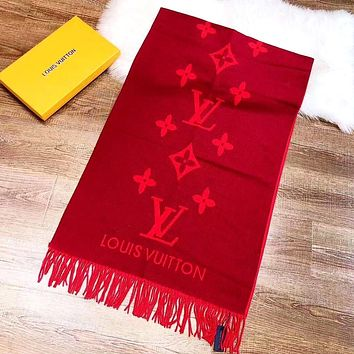 LV New Knitted Jacquard Letter Women's Shawl Scarf