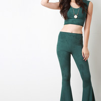 Faux Suede Bell Bottom Pants