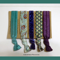 5 PEACOCK HAIR TIES No Tug, No Dent,  Yoga, Teal and Purple Feather, Stocking Stuffer Christmas Gift, Cyber Monday Sale