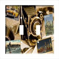 Double Light Switch Cover - Light Switch Plate Vintage New York City Travel Camera NY