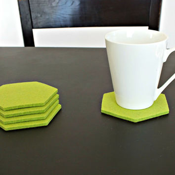 Lime Green Hexagon Coasters Set Of 4 Drink coasters Party Decoration. Made Of Merino Wooll Felt, Home Decor Tableware Eco-Friendly Coasters