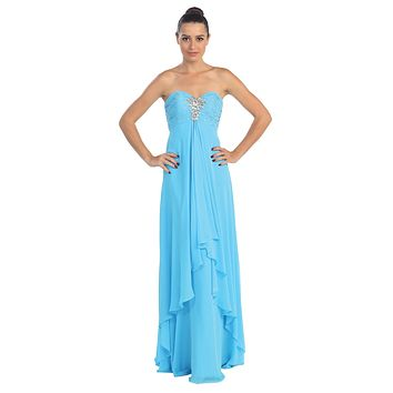 Strapless Floor Length Layered Turquoise Column Prom Gown