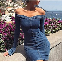 Spring new strapless long-sleeved slim slim denim dress