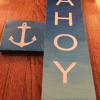 Nautical AHOY and Anchor Sign - Ombre Nautical Themed Decoration - Nautical Themed Baby Room - Anchor Distressed Sign - Ombre Rustic Anchor
