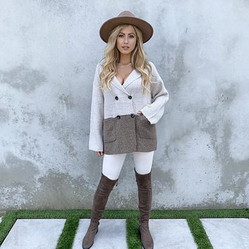 Natural Color Block Knit Button Up Sweater