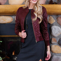 Luanna Pleather Jacket - Burgundy