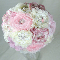 Custom Bridal Brooch Bouquet Handmade Flowers in Your Choice of Colors Not A Deposit Vintage Shabby Chic Romantic
