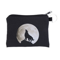 Wolf Howling at the Moon Black & White Coin Pouch Bag Werewolf