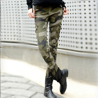 2015 American apparel slim high waisted camouflage pants plus size skinny pencil denim camo cargo women jeans femme baqueros
