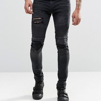 ASOS Super Skinny Jeans With Abrasions In Biker Style