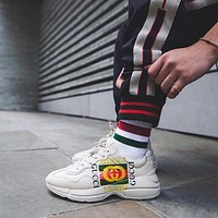 GUCCI Fashion New Letter Stripe Print Sport Running Women Men Shoes