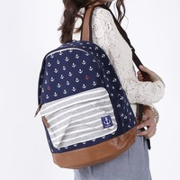 On Sale Hot Deal Casual Comfort Stylish Back To School College Navy Print Backpack [8958080455]