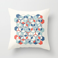 Soft Red, White & Blue Hexagon Pattern Play Throw Pillow by Micklyn