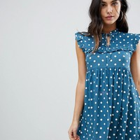 Motel Sleeveless Tea Dress With Collar In Vintage Spot at asos.com