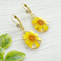 SALE FREE SHIPPING Real flower earrings, dangle drop gold plated earring. Chandelier resin transparent earrings with crystal Yellow spring f