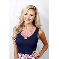 Flower Power Statement Necklace: Pink