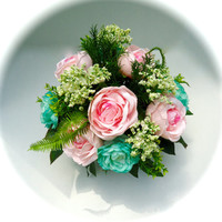 Floral Arrangement with Pink and Green Cabbage Roses, Table Arrangement, Centerpiece, Silk Floral, Spring Floral Arrangement, Summer Floral