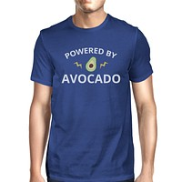 Powered By Avocado Blue T Shirt For Men Roundneck Lightweight Tee