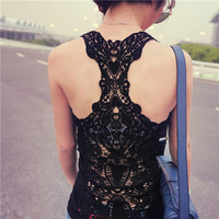 2014 Summer New Fashion Womens Tank top Sexy t-shirts Crochet Back Hollow-out woman Vest Camisole lace Gray, Black& White   Vest