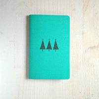 Large Notebook: Stocking Stuffer, Notebook, Trees, Christmas, Teal, Cute Notebook, Journal, For Him, For Her, Unique, Gift, Blank, KK623